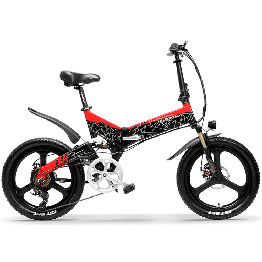 g650 red 104ah folding bicycle full suspension 7 s 10512