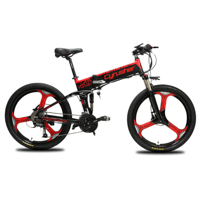 xf770 red folding electric mountain bike full susp 10159