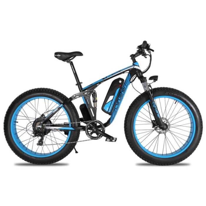 xf800 blue 1000w 48v fat tire mountain e bike full 10017
